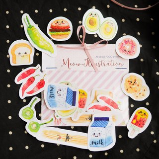 Watercolour Kawaii Food Planner Stickers (WT-003)