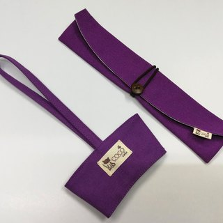 Environmental protection chopsticks bag cup set ~ Portable beverage cup bag. Lunch set storage bag chopsticks sets (purple plain canvas)