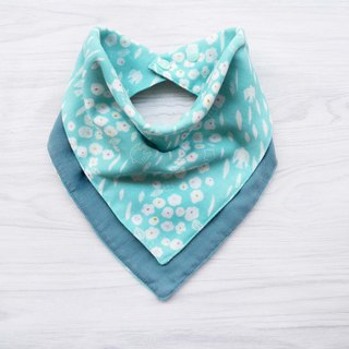 DOMOMO Japanese-made swallow flower (Mint green) 6-layer yarn double-sided bib saliva towel scarf