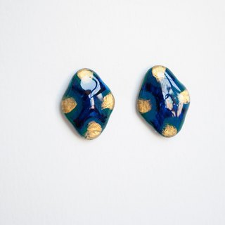 TeaTime and wind diamond flowers / dark blue dark green + gold / earrings limited winter