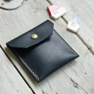 Blue dried bean leather purse / wallet