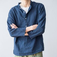 Japanese matching cotton and linen small stand collar pullover shirt loose section youth shirt male trend stand collar shirt