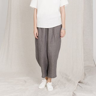 BUFU unisex oversized linen  strip pants P161009