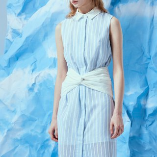 Blue and white striped dress with white waist straps