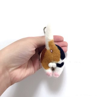 Fat roast chicken butt _ tricolor cat _ leather wool felt key ring _ free steel stamp 10 English letters