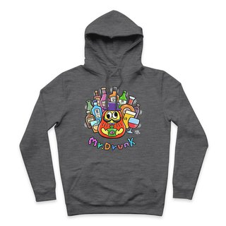 Mr.DRUNK- Heather Grey - Hooded T-Shirt