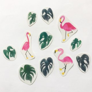 Red crane tropical leaf transparent sticker hand cut a pack of paper 11 into