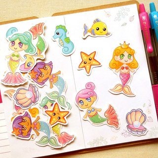 Mermaid Stickers 16 Pieces - Planner Stickers - Laptop Stickers