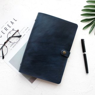 Gift mountain sea blue handmade leather loose-leaf notebook hand book notebook customization a5 a6 a7