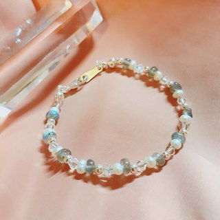 Pure _ stretch natural stone pearl white crystal bracelet