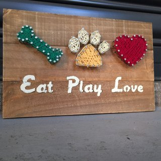 [6618 Yoichi tail] EAT PLAY LOVE pet hairy family, wall decorations, wood works, pet gifts