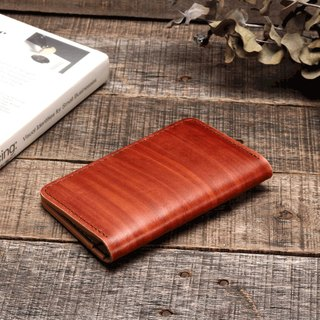 Minimal wood grain brush dyed yak leather handmade passport holder