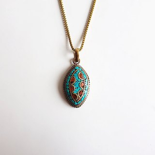 [Ancient Pieces] bronze inlay natural ore turquoise pendant short necklace