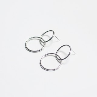 French Earrings - Elegant Double Donut Silver Earrings / Sterling Silver / Adjustable Ear Clips