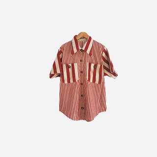Dislocation vintage / red and white striped short-sleeved shirt no.877 vintage
