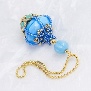 Blue bag charm, beaded perfume bottle pendant, bag accessory, 1503
