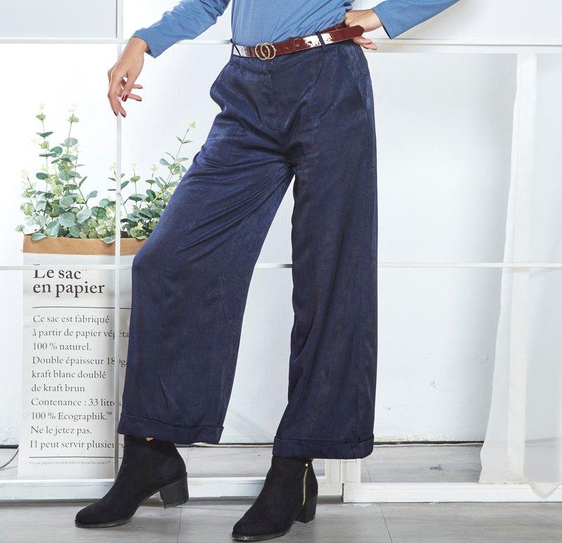 【快速出貨】暈彩緞面造型寬褲