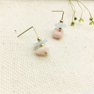 Lao Lin grocery Travelin-good luck series small and cute small ear nail Blue Onyx / Pink Po ear hook l ear needle l ear clip