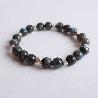 Gemstone ‧ Night Natural Mineral Dark Labradorite 925 Silver ‧ Bracelet