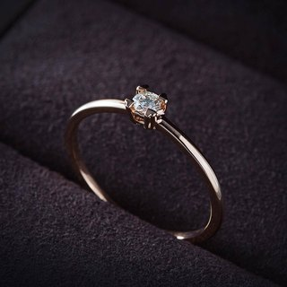 Frankness | 18K Rose Gold Elegant Simple Diamond Ring | Rose Gold / Diamond Ring / Couple / Custom / Customized