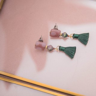 Dusty Rose and Green Tassel Earrings