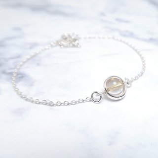 Blonde Crystal Heart Bracelet (Large) - 925 Sterling Silver Natural Stone Bracelet