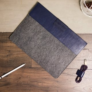alto iPad Pro 12.9 / MacBook Air 13 革製 Sleeve – 濃紺 / 灰色