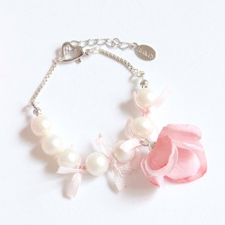 Natural real pearl flower silver bracelet with hand wedding bridesmaid sister gift