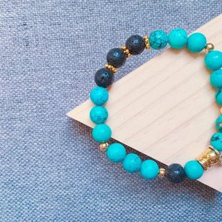 A touch of turquoise blue ore bracelet [/ volcanic rock]