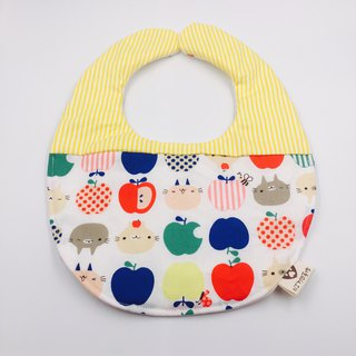 White cat apple stitching yellow striped bib double yarn design