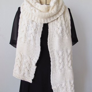 Blue wool scarf (beige)