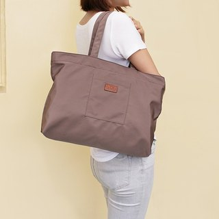 LAPELI │ large capacity polyester handbag brown