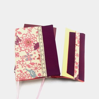 Lace Pink garden book cover with bookmark handmade canvas
