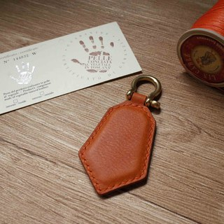 Minerva box wrestling leather leisure card chip pendant - key ring section - orange coffee color