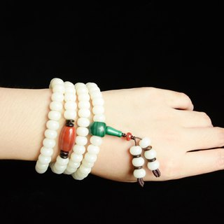 [淳] white jade bodhi orthodox 108 beads south red agate malachite bracelet bracelet