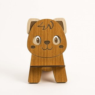 Wooden Formula (Customized - Color Patterns can be replaced) Wooden Phone Holder - 12 Zodiac (Puppy) Mobile Phone Holder / Ornament / Business Card Holder / Gift / Premium / Mobile Phone Accessories / Stationery
