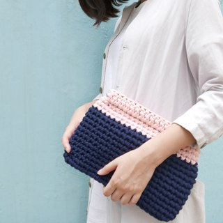 Duo Color Clutch, crochet, knit, handmade (Pink / Navy)