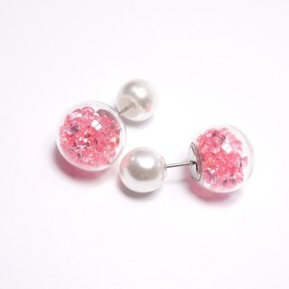 Before and after A Handmade pink crystal ball with pearl earrings