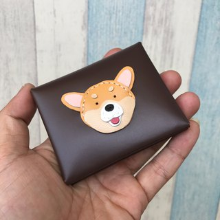 Handmade Leather Taiwan MIT Corgi Dog Dark Brown Coin Purse