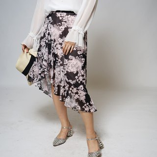 Black Pink Flower Fishtail Irregular Skirt (R5017B)