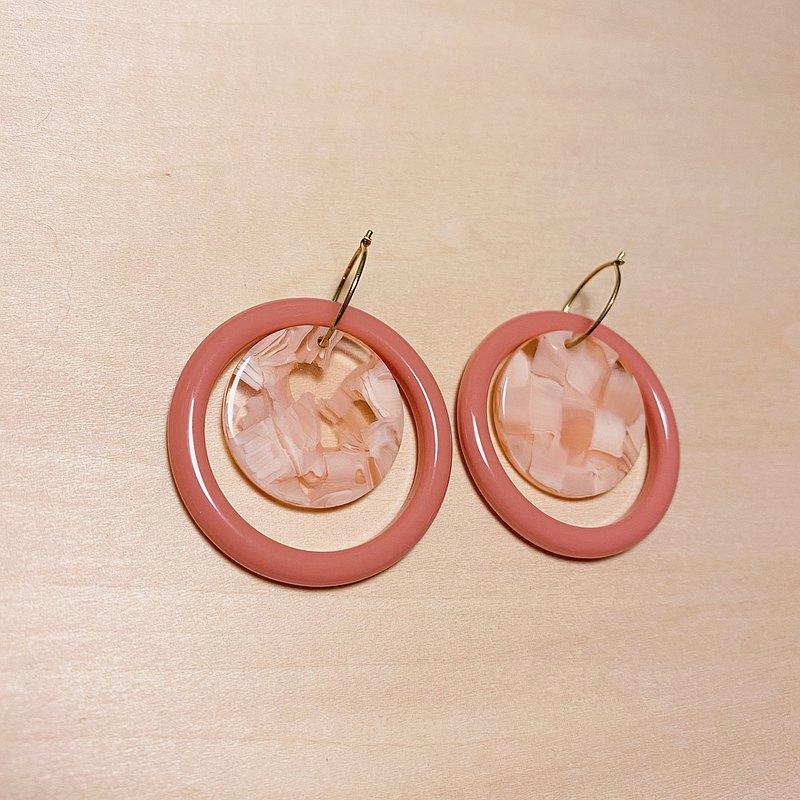 復古深粉紅大理石耳環