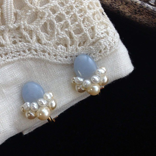 16kgp Angelite AAA and Freshwater Pearl Collage Ear Clip 耳夾