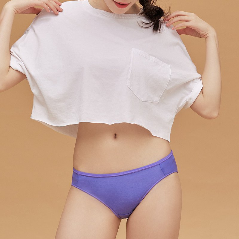 【玳蕾綺】消臭抑菌天絲棉內褲-中腰三角款式(2入) 紫色