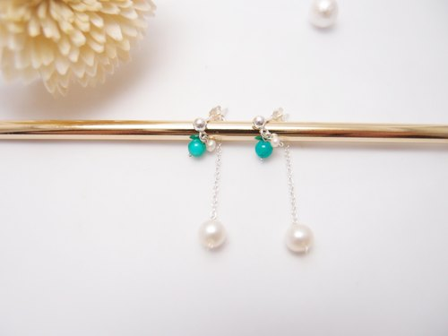 Sea blue water droplets. Silver Pearl Earring