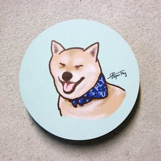"""Squinting Chai Chai - blue scarf"" / original illustrations - absorbent ceramic coasters / Flies Planet / Hands Bazaar /"