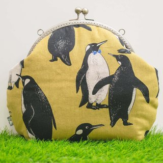 [Hello Penguin] retro metal mouth gold bag - Bulk # Liver yellow # old cloth