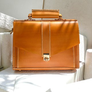 Not hit the package bright orange vegetable tanned leather full leather small briefcase