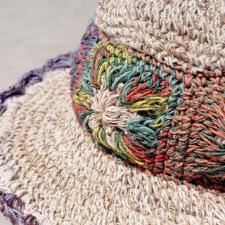 Limited hand hand-woven cotton cap / knit cap / hat / visor - knit flower color