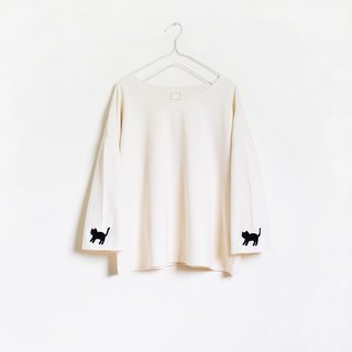 cat sleeve t-shirt : natural