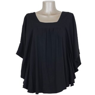Square Neck Tops <black>